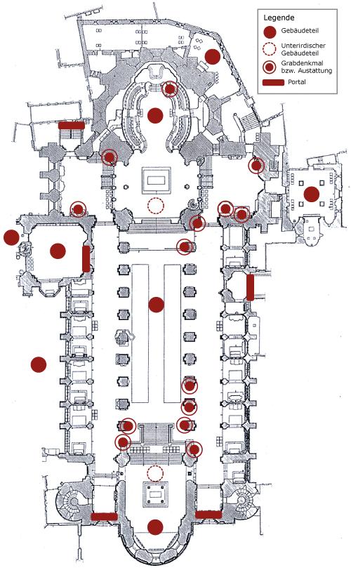 Grundriss des Mainzer Doms mit anklickbaren Punkten